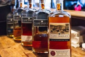 Bottles of Cape Charles Distillery Whiskey
