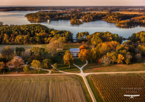aerial view of Chatham Vineyards