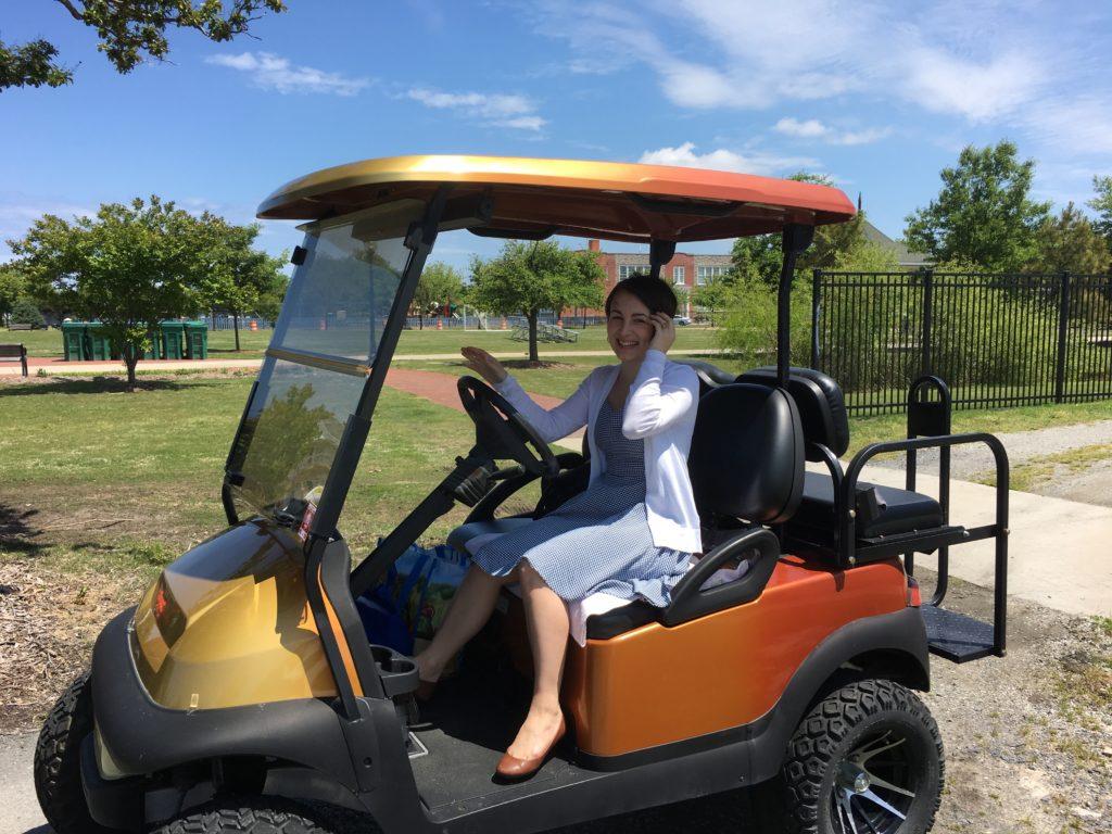 """""""Inn-tern"""" meets """"Chessie Bay"""" ( aka golf cart)"""