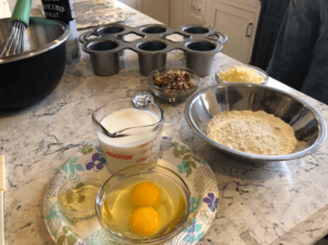 Eggs, flour, and milk to make a popover