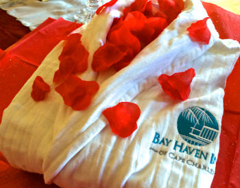 A white robe covered in red rose petals with the text: Bay Haven Inn of Cape Charles.