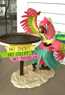 A pink parrot wearing a green hula skirt stands before a tray with the text: No Shoes, No Shirt, No Problem.