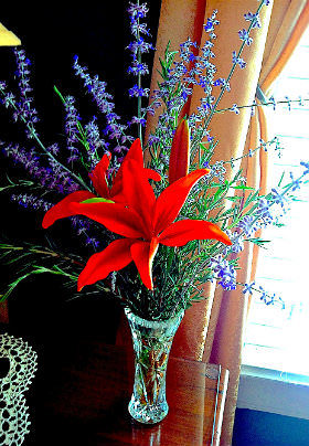 A large red flower stands in a tall, glass vase amongst greens and purple flowers.