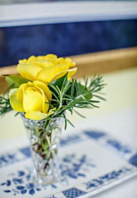 Two yellow flowers rest in a glass vase with green sprig of rosemary atop a white and blue tray.