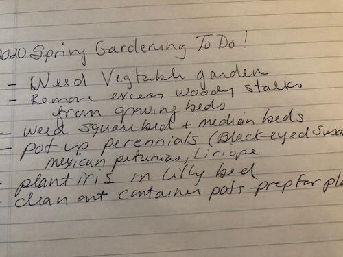 handwritten spring gardening to-do list