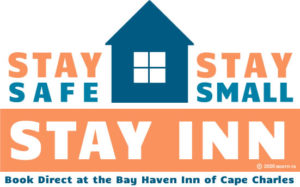 Logo that reads Stay Safe, Stay Small and Stay Inn, with picture of a house