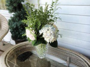 white hyrdrangea and herbs